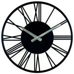 wall-clock-metal-rome-black